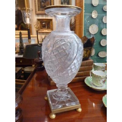 Vase En Cristal De Baccarat, Monture En Bronze Doré, époque Charles X
