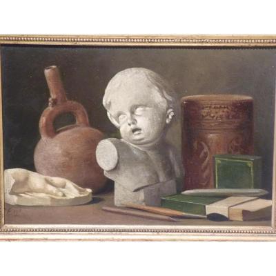 Still Life Workshop, Oil On Cardboard, 1911