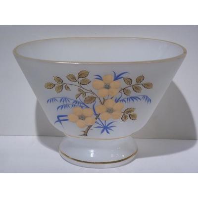Vase Oval, Opaline, Décor De Fleurs, Fin 19e Siècle