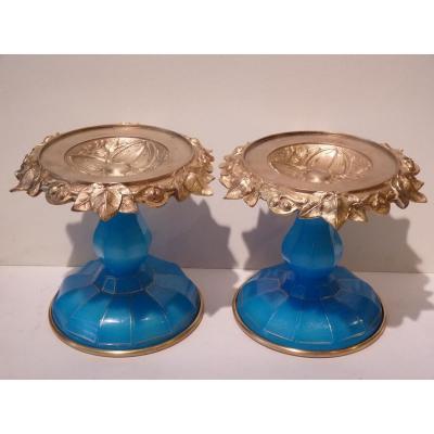 Paire Coupes Décoratives, Opaline Turquoise Et Bronze Doré, Napoléon III