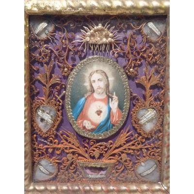 Paperolle Reliquaire, 7 Reliques, 19e Siècle