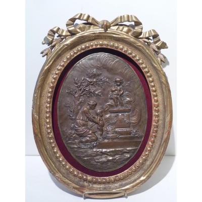 Offrande à l'Amour, Médaillon En Bronze, Style Louis XVI, 19e Siècle