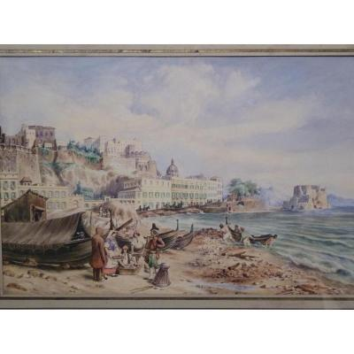 View Of Naples, Watercolor, 1830