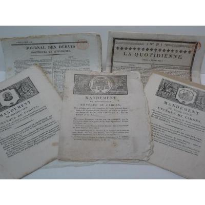 5 Publications Sur Les Derniers Bourbons, Epoque Restauration