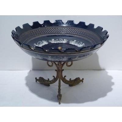Coupe Porcelaine Et Bronze Doré Aux Dauphins, Vers 1920