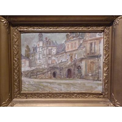 Charles Jouas (1866-1942) Château De Fontainebleau, Huile Sur Toile