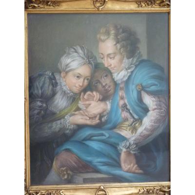 The Diseuse Of Good Adventure, Pastel Louis XVI Style, 19th Century