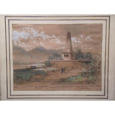 Monument Of General Hoche In Weissenthurm, Watercolor Drawing, 19th Century
