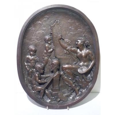 Jean Baptiste Germain (1841-1910) Allégorie des Arts, Médaillon Bronze Patiné