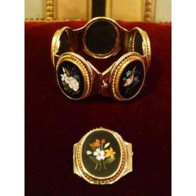 Parure Gold Inlay And Hard Stones, Bracelet And Brooch, Italy 1840