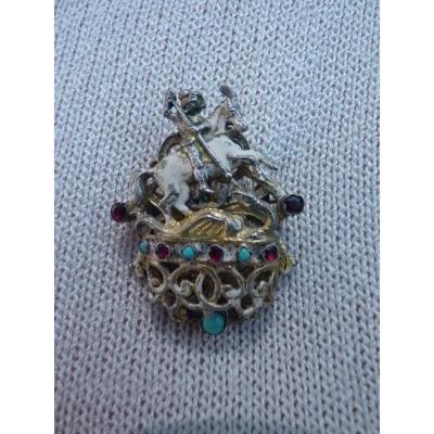 Broche Romantique, Saint Michel Terrassant Le Dragon, Vermeil Turquoises Grenats, 19e Siècle