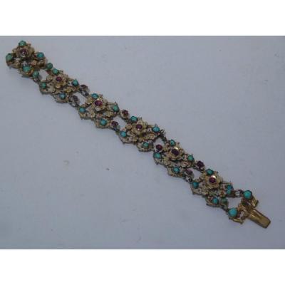 Romantic Bracelet, Vermeil Turquoise Garnets, Renaissance Style, 19th Century