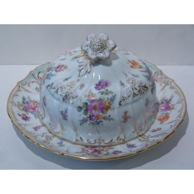 Butter Dish Porcelain Saxony, Decor Flowers, 19th Century
