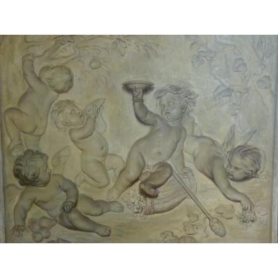 Grisaille Bacchus Enfant, Style de Piat-Joseph Sauvage, 19e Siècle