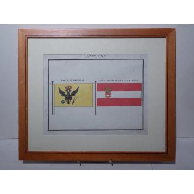 Austrian Flags By Charles Motte (1785-1836) Restoration Era