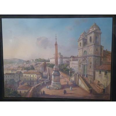 Rome, Trinité des Monts, Gouache Ecole Italienne 19e Siècle