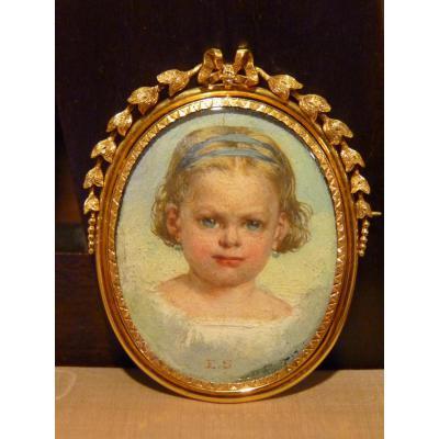 Miniature-pin, Portrait Of Little Girl In Gold Frame, Napoleon III