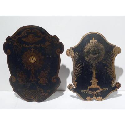 Two Lanterns Of Processions, Painted Plate, 19th Century