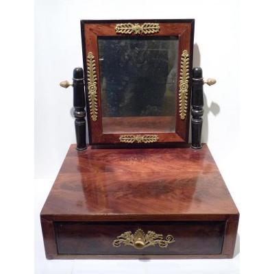 Psyché de Table, Acajou & Bronze Doré, Epoque Empire