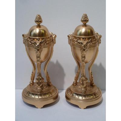 Pair Of Cassolettes Forming Candlesticks, Louis XVI Style