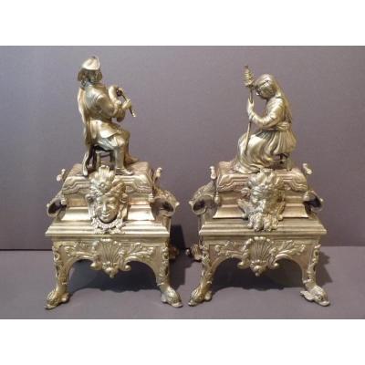 Paire de Chenets, époque Régence, Joueur de Cornemuse & Fileuse