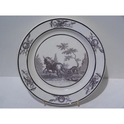 Faience Fine de Sèvres, Assiette Fable de La Fontaine, Empire