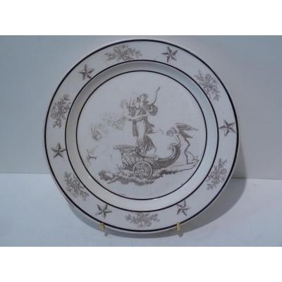 Faience Fine de Sèvres, Assiette Zéphyr & Flore, Début 19e Siècle