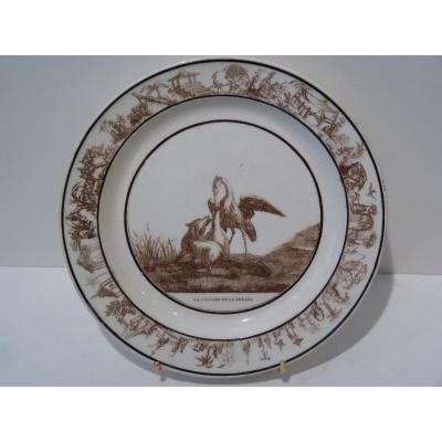 Faience Fine De Sèvres, Plate The Fox & The Stork, Early 19th Century