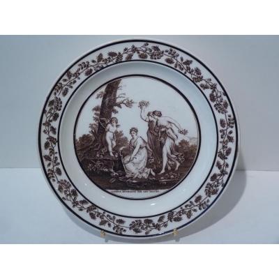 Faience Fine De Sèvres, Love Plate Chained By The Graces, Empire