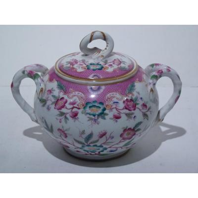 Grand Sucrier, Porcelaine de Sarreguemines Gout Minton, 19e Siècle