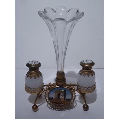 Vase Souvenir de Paris, Opaline, Fixés sous Verre, époque Napoléon III