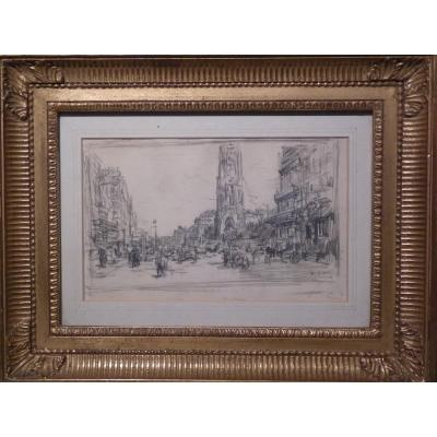 Luigi Loir (1845-1916) Paris, Rue De Rivoli And The Tour St-jacques, Signed Drawing