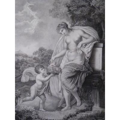 Venus & Love, Neoclassical Drawing By Virginie Du Thozet, Restoration Period