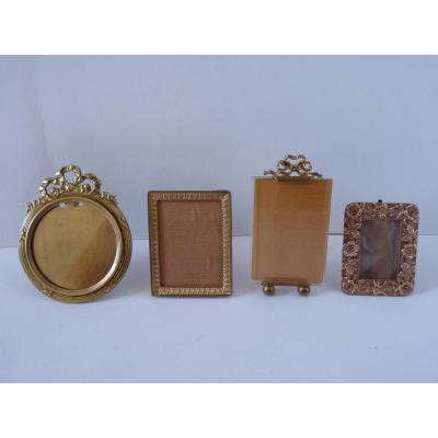 Lot Of 4 Miniature Golden Photo Frames, Late 19th Century