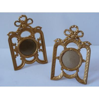 Pair Louis XVI Style Photo Frames, Golden Metal, Late 19th Century