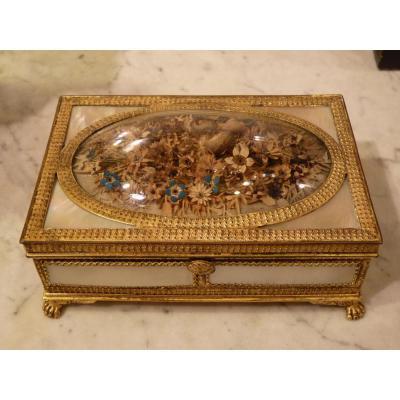 Box Pearl And Gilt Bronze, Charles X Period, Labour Du Palais-royal