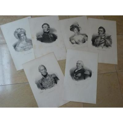 6 Engravings, Royal Portraits, Restoration Period