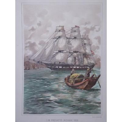 Lot 12 Engravings Colors Of Boats, 19th & 20th Centuries