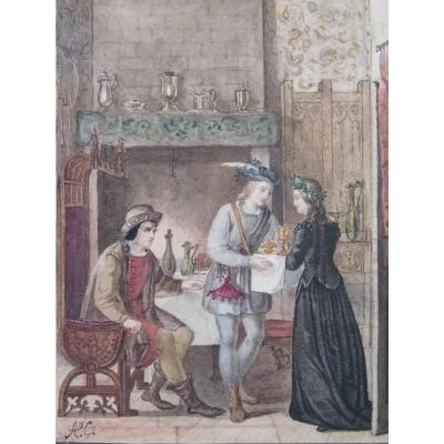Alexandre Colin (1798-1875) Scene From Quentin Durward, Watercolor, Restoration Period