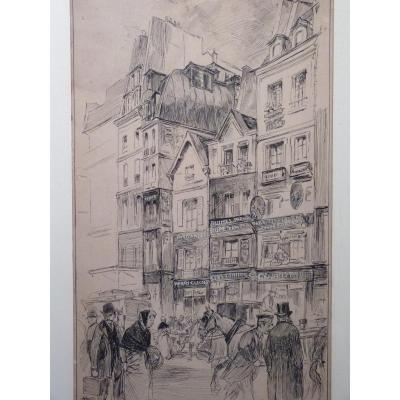 Hermann Vogel (1856-1918) La Rue Saint-Denis à Paris, Dessin Belle Epoque