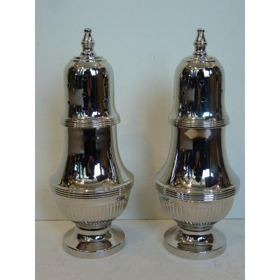 Pair Of Sugar Sprinklers, Silver Plated, Louis XVI Style