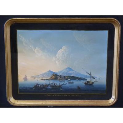 Vue d'Ischia, Grande Gouache Napolitaine, 19ème Siècle