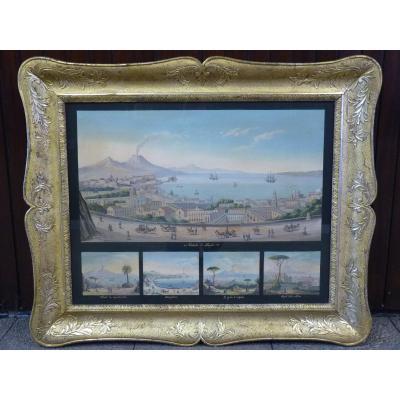 Rare Gouache Napolitaine, 5 Vues de Naples, 19ème Siècle