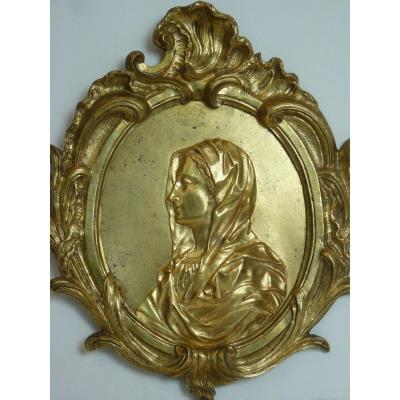 La Vierge, Médaillon, Bronze Doré, Epoque Louis XV