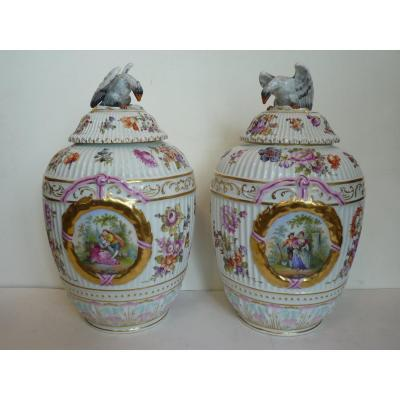 Pair Of Potiches, Dresden Porcelain, 19th Century