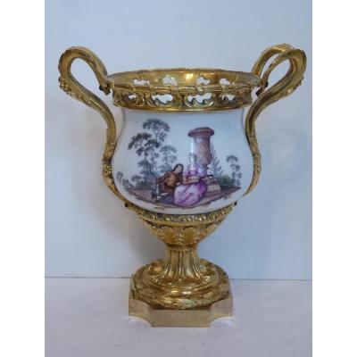 Coupe en Porcelaine de Meissen, Monture Louis XVI, 18ème Siècle