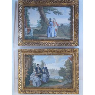 Paire de Gouaches Louis XVI, Scènes de Conversations, Style de Carmontelle