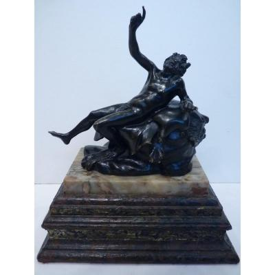 Silenus Drunk, Bronze Souvenir From The Grand Tour, Italy Early 19th Century