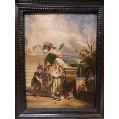 Jules Dehaussy (1812-1891) Dame de Cour Gravissant les Escaliers du Pavillon Henri IV