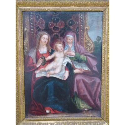 Virgin And Child With Saint Anne, 17th Century, Oil On Panel